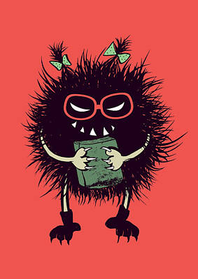 Geek Evil Bug Character Loves Reading Art Print