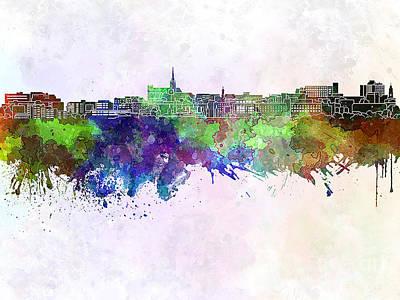 Geelong Skyline In Watercolor Background Art Print