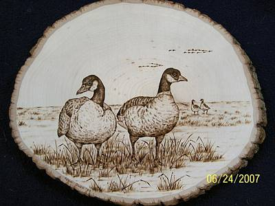 Pyrography - Geese Couple On Basswood by Adam Owen