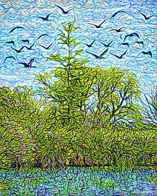 Digital Art - Geese Glide Over Still Pond by Joel Bruce Wallach