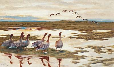 Flying Geese Painting - Geese In A Landscape by Bruno Liljefors