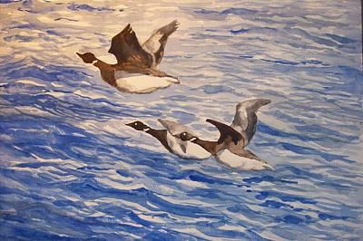 Geese In Flight Art Print by Siona Koubek