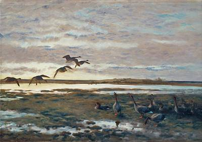 Bruno Painting - Geese In The Field by Bruno Liljefors