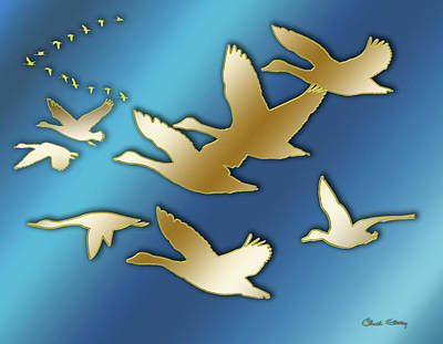 Digital Art - Geese Migrating  by Chuck Staley
