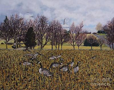 Canadian Geese Painting - Geese On The Flats Of Nauvoo by Thomas Kyle