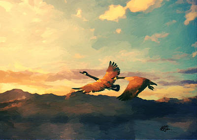 Geese On The Wing Art Print