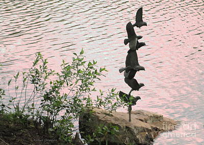Photograph - Geese Sculputure by Kathie Chicoine