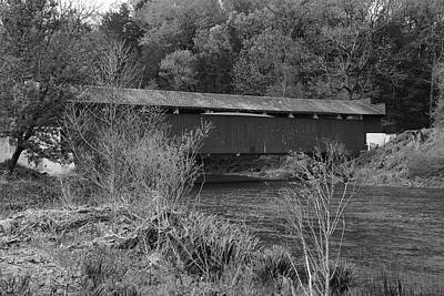 Jordan Creek Covered Bridge Pa Photograph - Geiger Covered Bridge B/w by Jennifer Ancker