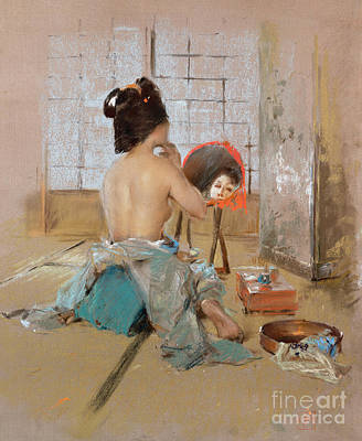 Make-up Painting - Geisha At Her Toilet  by Robert Frederick Blum