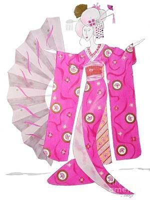 Geisha Barbie -- Whimsical Geisha Girl Drawing Art Print