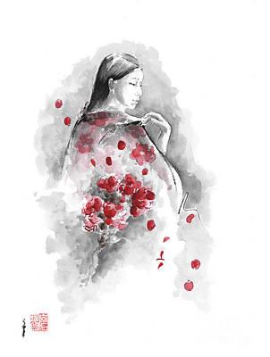 Aquarelle Painting - Geisha - Cherry Blossom. by Mariusz Szmerdt