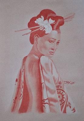 Drawing - Geisha by Edward Kovalsky