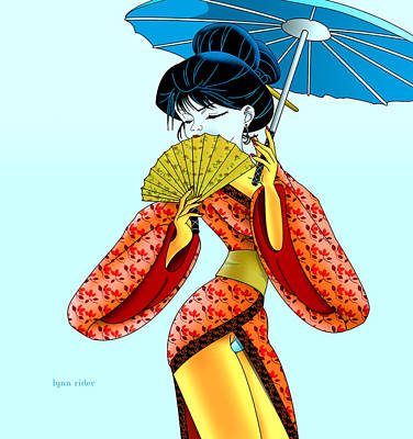 Art Print featuring the painting Geisha Girl by Lynn Rider