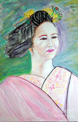 Painting - Geisha Girl Portrait II by Stanley Morganstein