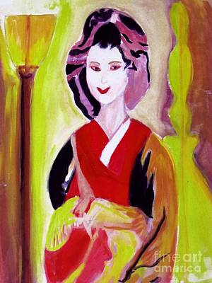 Painting - Geisha Girl Portrait Painted With Picasso Style by Stanley Morganstein