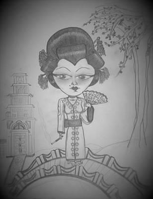 Pop Art Drawings - GEISHA girl by Veronica Pulido