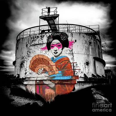 Geisha Graffiti Art Print by Adrian Evans
