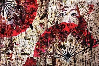 Digital Art - Geisha Grunge by Paula Ayers