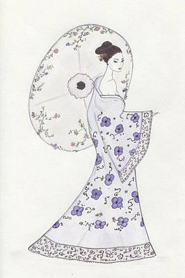 Drawing - Geisha In Bloom by Christine Corretti