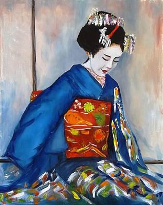 Geisha In Blue Kimono Art Print