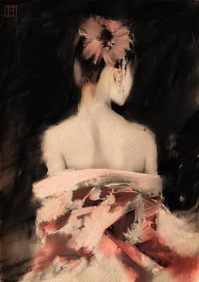 Geisha In Pink Art Print by H James Hoff