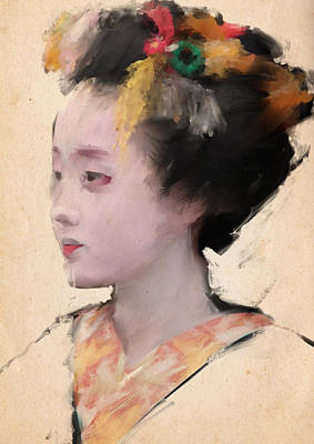 Geisha In Yellow Art Print by H James Hoff
