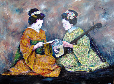 Japanese Geisha Girls Painting - Geisha Music Lesson by Christy  Freeman