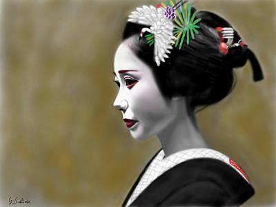 Geisha Digital Painting - Geisha No.208 by Yoshiyuki Uchida