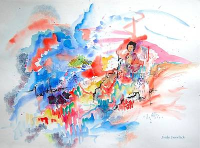 Colored Pencil Abstract Mixed Media - Geisha On Mountain Top by Judy Swerlick