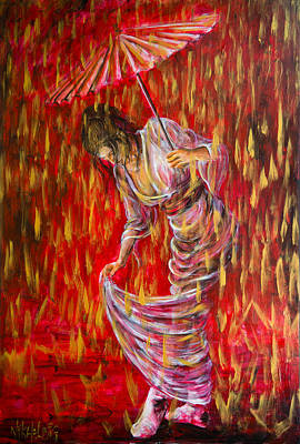 Painting - Geisha - Rain Dance 01 by Nik Helbig
