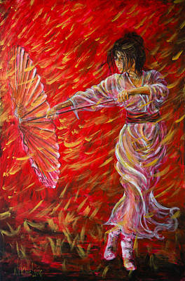 Painting - Geisha - Rain Dance 02 by Nik Helbig