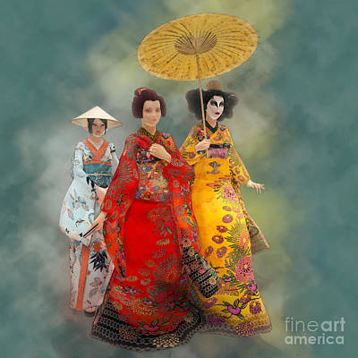 Painting - Geisha Stroll by Methune Hively