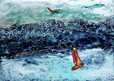 Geisha Surfing  Art Print by Andy  Mercer