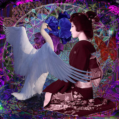 Geisha Swan Dance Art Print