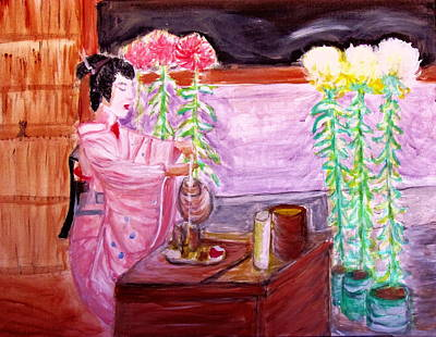 Painting - Geisha Tea Ceremony by Stanley Morganstein