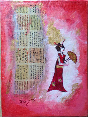 Painting - Geisha With Fan by Roxy Rich