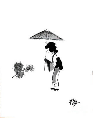 Geisha With Parasol Art Print by Sibby S