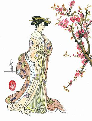 Geisha With Peach Blossoms Print by Linda Smith