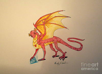 Drawing - Gem Hunter Dragon by Wendy Coulson