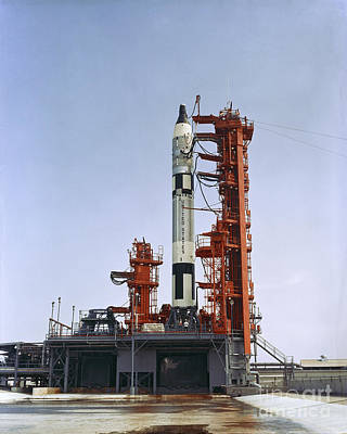 Gemini 5 Spacecraft On Its Launch Pad Print by Stocktrek Images