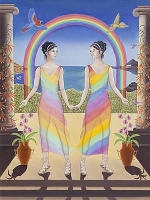 Honeysuckle Painting - Gemini / Iris And Arke by Karen MacKenzie