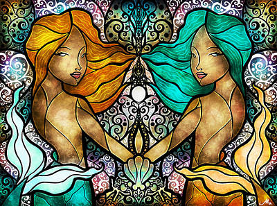 Ocean. Stained Glass Ocean Digital Art - Gemini by Mandie Manzano