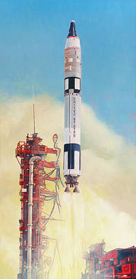Painting - Gemini-titan Launch by Douglas Castleman
