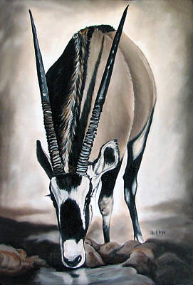 Buck Painting - Gemsbok - Thirst by Ilse Kleyn