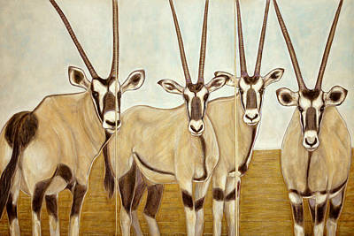 Gemsboks Or 0ryxs Triptych Art Print by Isabelle Ehly