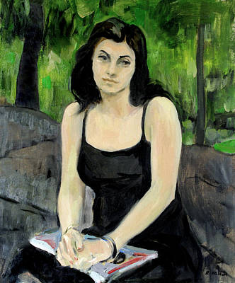 Painting - Gena Wearing Black In Central Park by Robert Holden