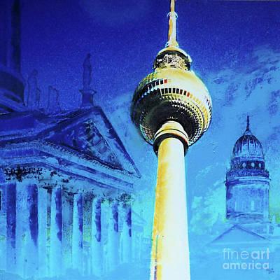 Berlin Mixed Media - Gendarmenmarkt And Televisiontower by Nica Art Studio