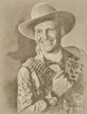 Singer Drawing - Gene Autry, Western Actor And Singer by Frank Falcon