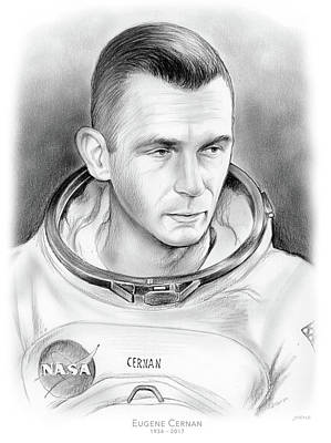 Drawings - Astronaut Gene Cernan by Greg Joens