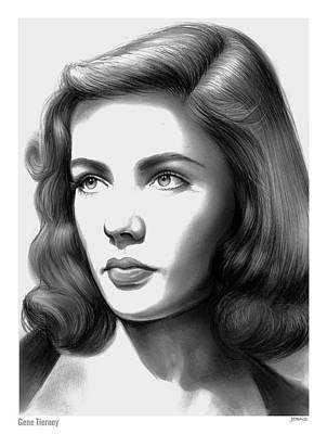 Award Drawing - Gene Tierney by Greg Joens